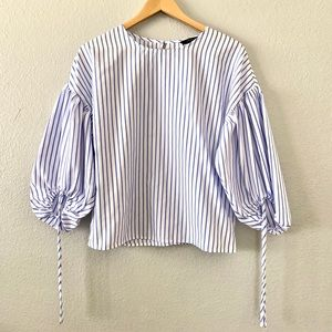 Blue/White Stripe tie up Sleeve Blouse